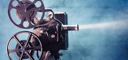 old film projector with dramatic lighting